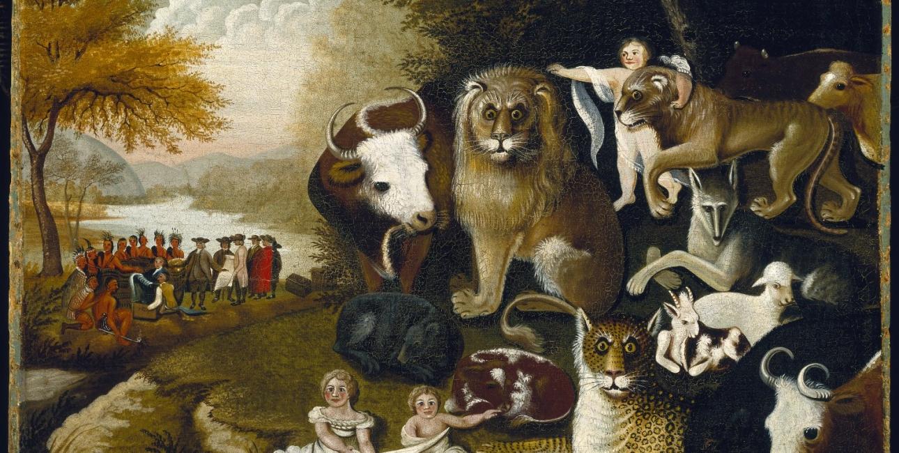 """Udsnit af Edward Hicks """"The Peaceable Kingdom"""" fra cirka 1833. Kilde: Wikimedia Commons."""