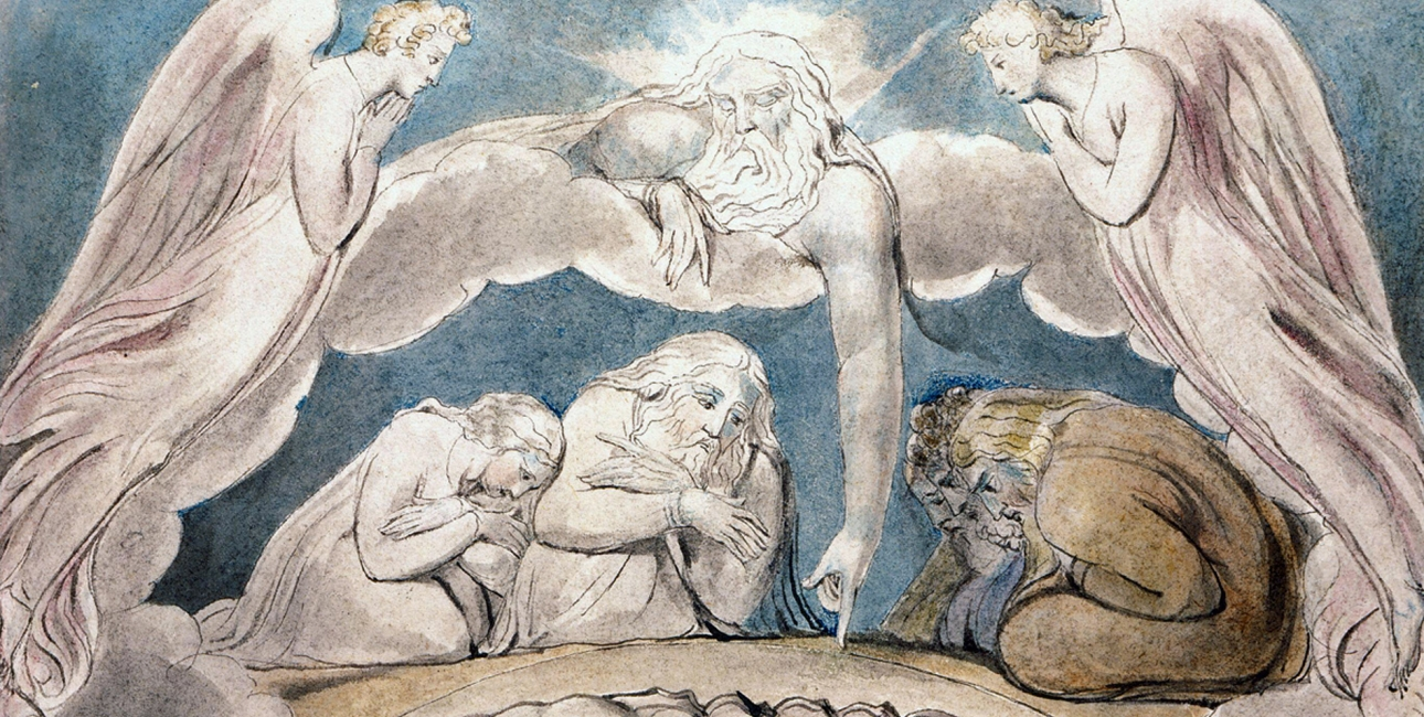 Er Gud Retfærdig? Illustration af William Blake.