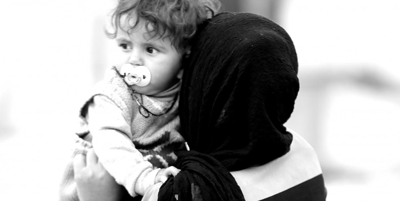Mor med barn i Lebanon