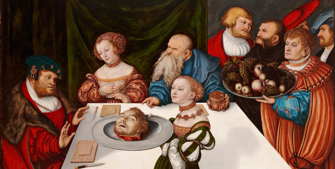 Johannes Døbers hoved på et fad. Maleri af Lucas Cranach den ældre.