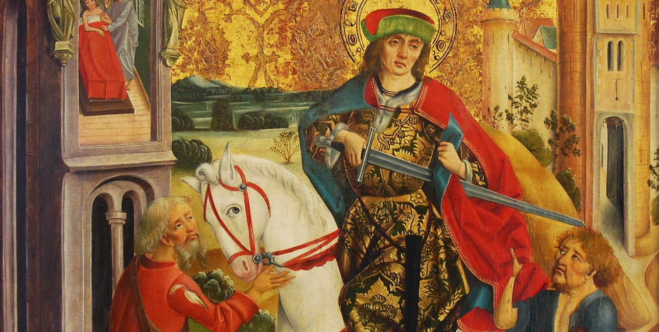 Sankt Martin og tiggeren. Maleri af ukendt, ungarsk kunstner ca. 1490. Kilde: Wikimedia Commons.