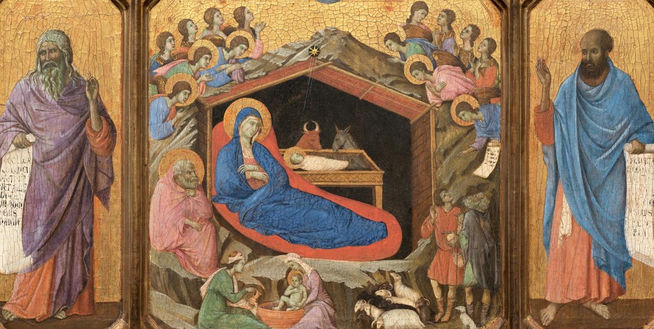 Jesus' fødsel flankeret af profeterne Esajas og Ezekiel. Maleri af Duccio di Buoninsegna ca. 1311. Kilde: Wikimedia Commons.