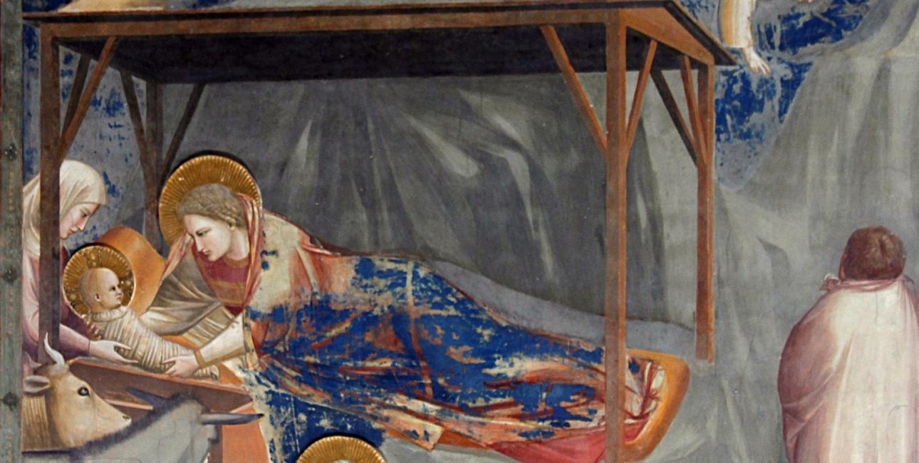 Jesus' fødsel Fresco af Giotto fra Scrovegni-kapellet.