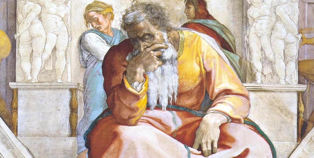 Profeten Jeremias. Fresko af Michelangelo fra Det Sixtinske Kapel.