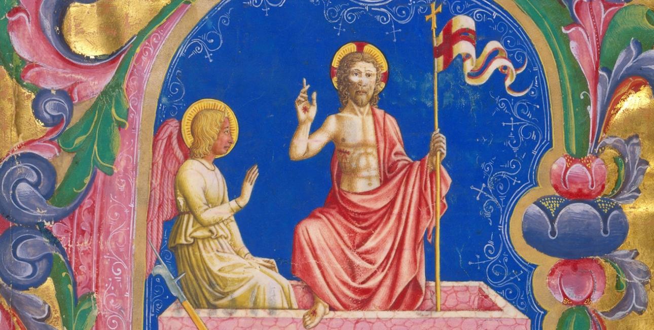 Opstandelsen. Miniature af Domenico Pagliarolo, 1400-tallet. Kilde Wikimedia Commons.