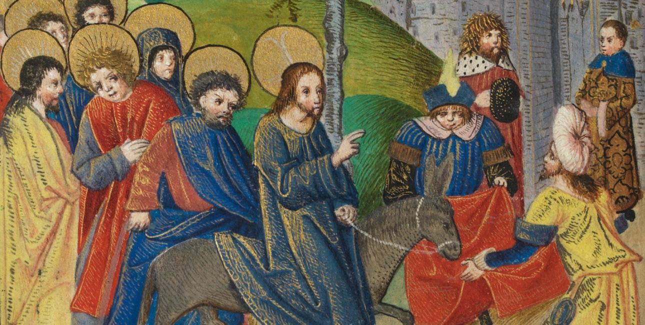 Indtoget i Jerusalem. Illustration fra 1500-tallet.