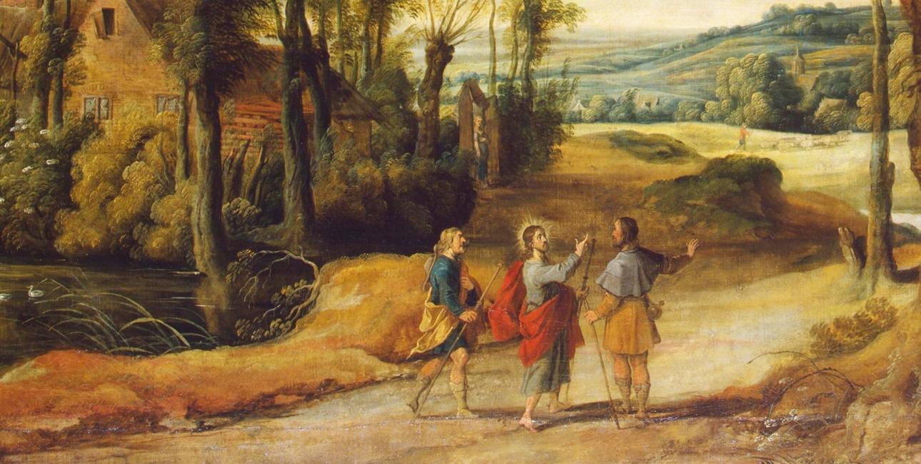 I Lukasevangeliet fortælles det, hvordan to af disciplene får følgeskab af en fremmed på vejen til byen Emmaus. Den fremmede er den opstandne Jesus. Anden påskedag fejrer man i den danske folkekirke dagen, hvor den opstandne Jesus viser sig for disciplene. Maleri af Jan Wildens.