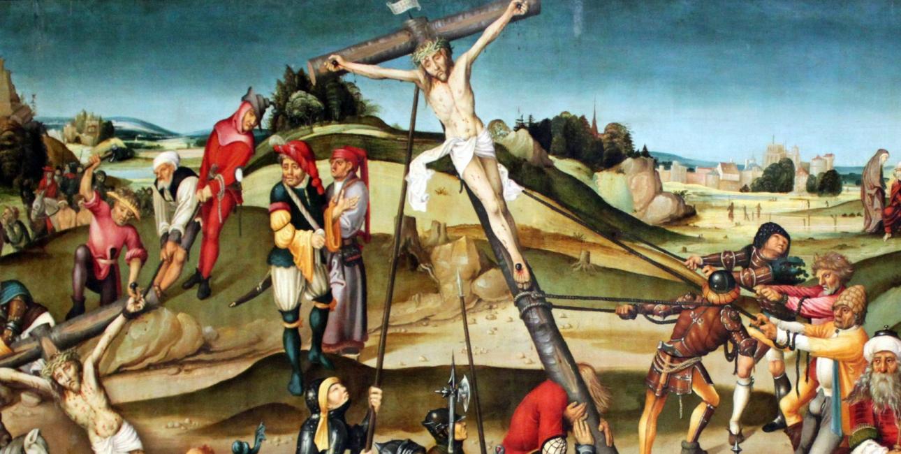 Langfredag bliver Jesus pint og dør på korset. Korset er et af de stærkeste symboler for kristne, da det er et tegn på liv og tro for kristne. Maleriet forestiller Jesus der bliver korsfæstet. Maleri fra Strasbourg.