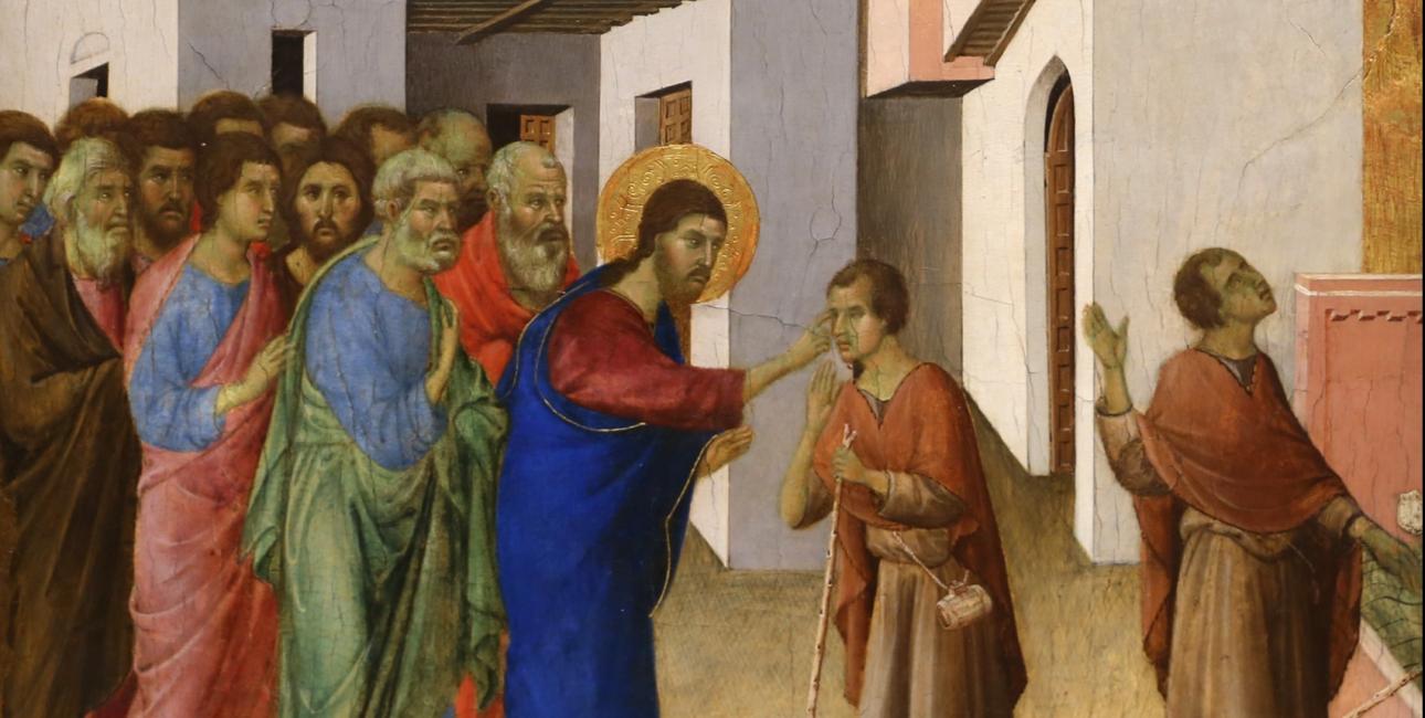 Jesus helbreder en blind. Maleri af Duccio di Buoninsegna.