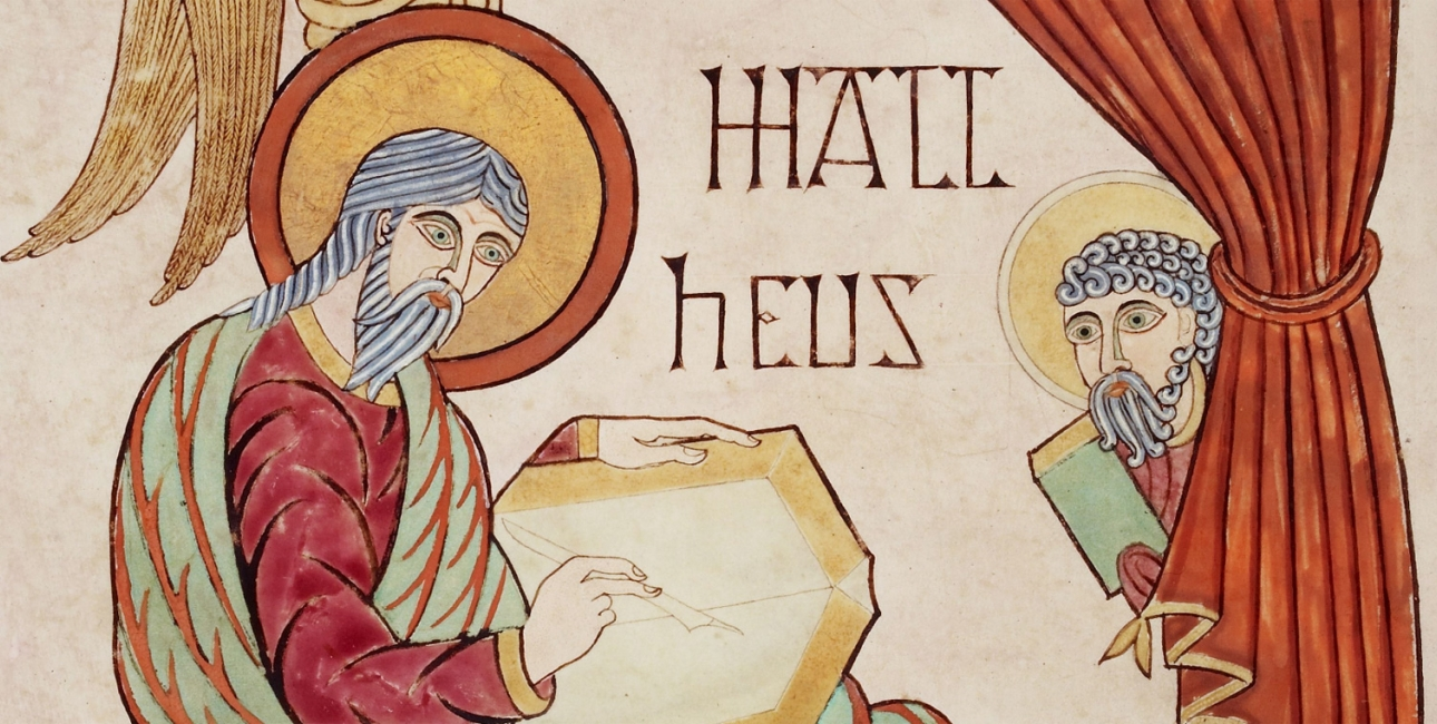 Evangelisten Matthæus. Illustration fra Lindisfarne-manuskriptet.