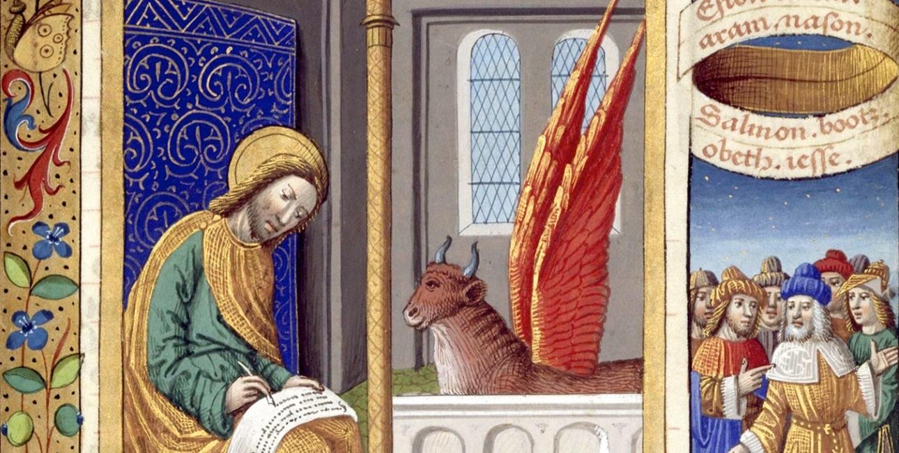 Evangelisten Lukas Illustration fra Livre d'heures de Charles VIII. Kilde: Wikimedia Commons.