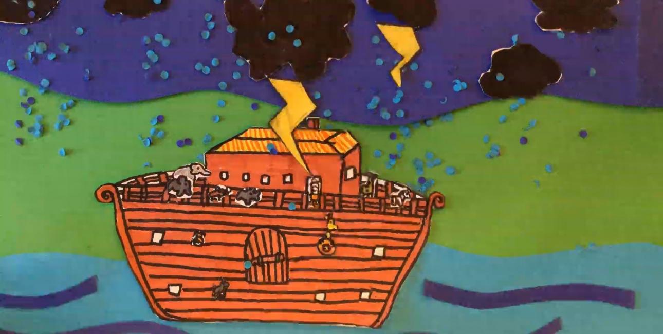 Kreativt arbejde med Noa. Screendump fra video, Odense Friskole.