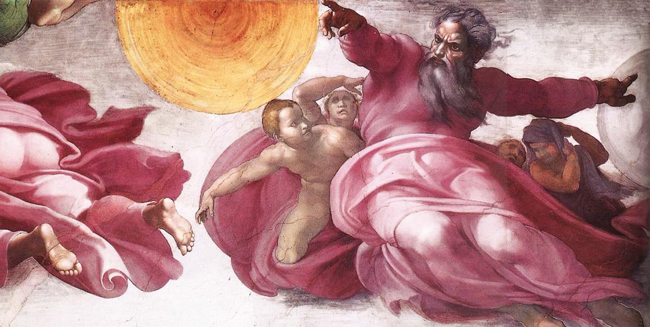 Gud skaber solen og månen. Fresko af Michelangelo fra Det Sixtinske Kapel.