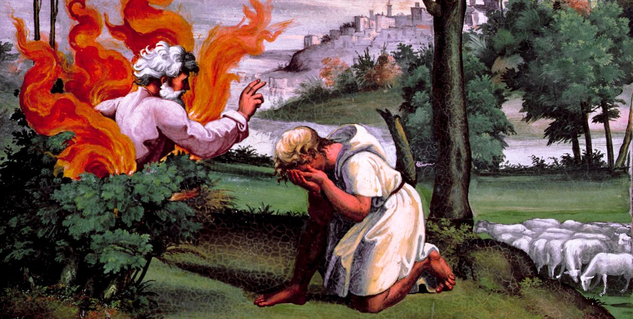Moses og den brændende busk. Fresco af Raphael. Kilde: Akg-images.