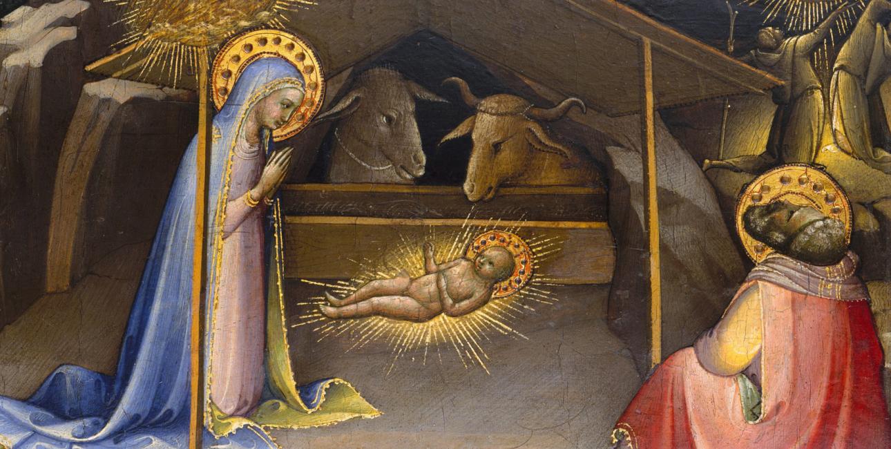 Kristi fødsel. Maleri på træ af Lorenzo Monaco, 1409. Kilde: Wikimedia Commons.