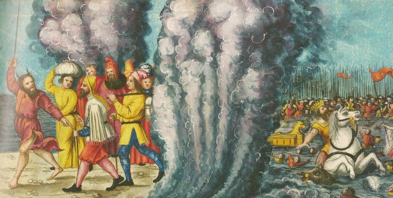Moses deler vandene i Det røde hav, og israelitterne når tørskoede over, mens egypterne drukner. Augsburger Wunderzeichenbuch, ca. 1552. Kilde: Wikimedia Commons.