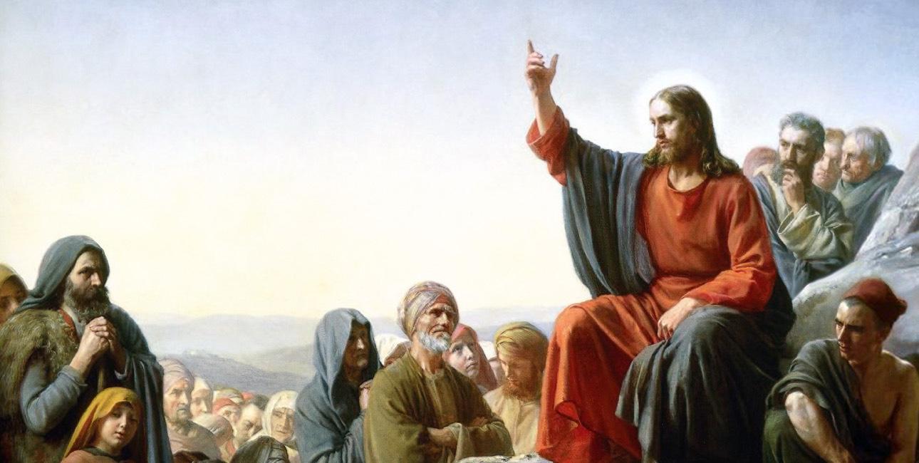 Bjergprædikenen. Maleri af Carl Bloch, 1877. Kilde: Wikimedia Commons.