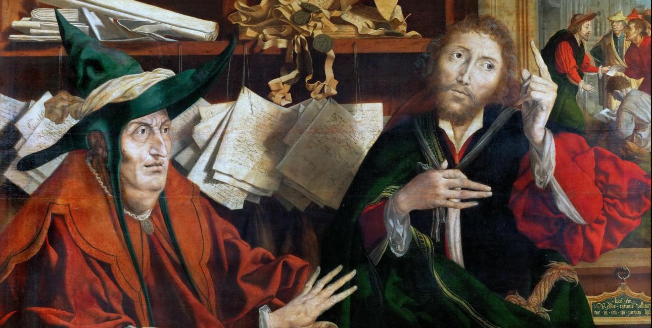 Den uærlige godsforvalter. Maleri af Marinus van Reymerswaele, ca. 1540. Kilde: Wikimedia Commons.