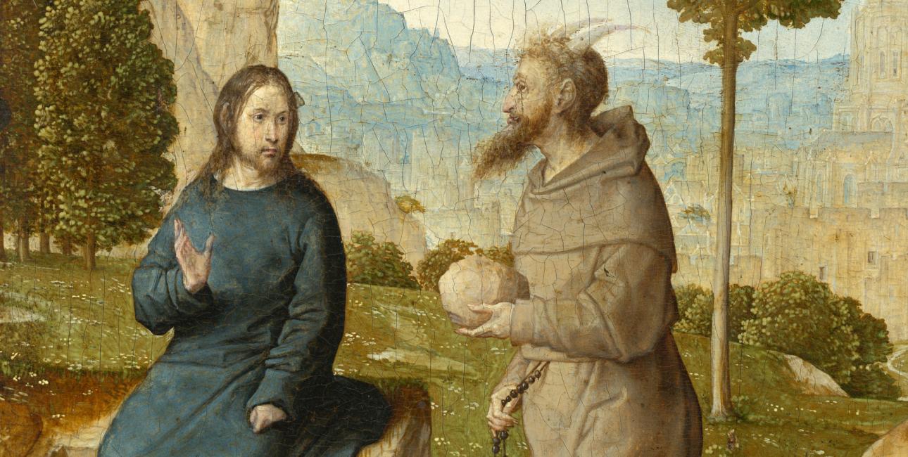 """Djævelen frister Jesus: """"Hvis du er Guds søn, så sig, at stenene her skal blive til brød."""" Maleri af Juan de Flandes, ca. 1500."""
