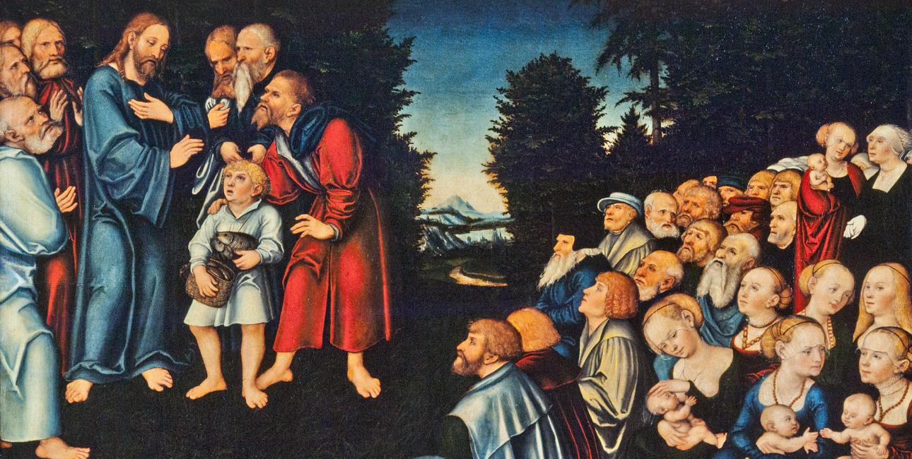 Bespisningen af de fem tusind. Maleri af Lucas Cranach den ældre. Kilde: Wikimedia Commons.