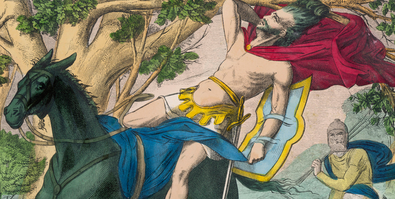 Absaloms død. Illustration: Mary Evans Picture Library/Ukendt kunstner i Histoire Sainte En Tableaux/Ritzau Scanpix