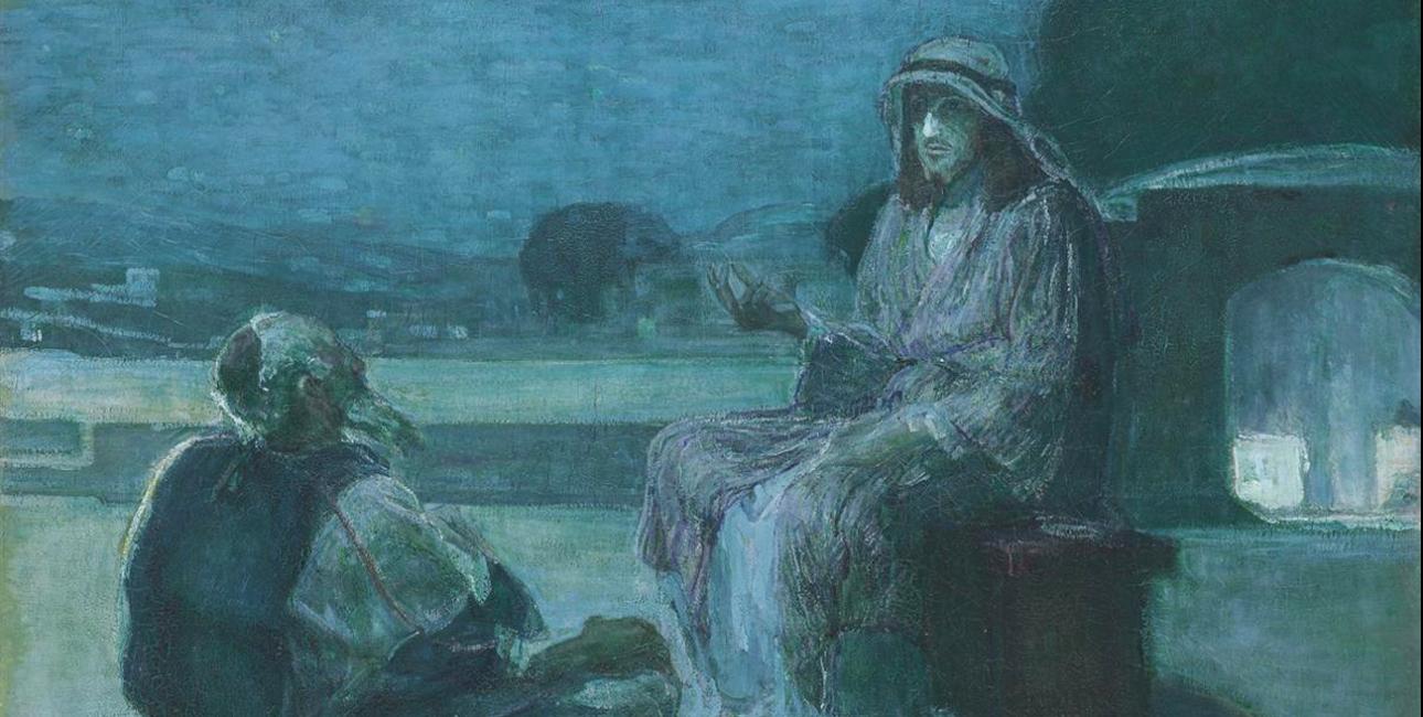 Nikodemus møder Jesus. Maleri af Henry Ossawa Tanner, ca. 1898. Kilde: Wikimedia Commons.
