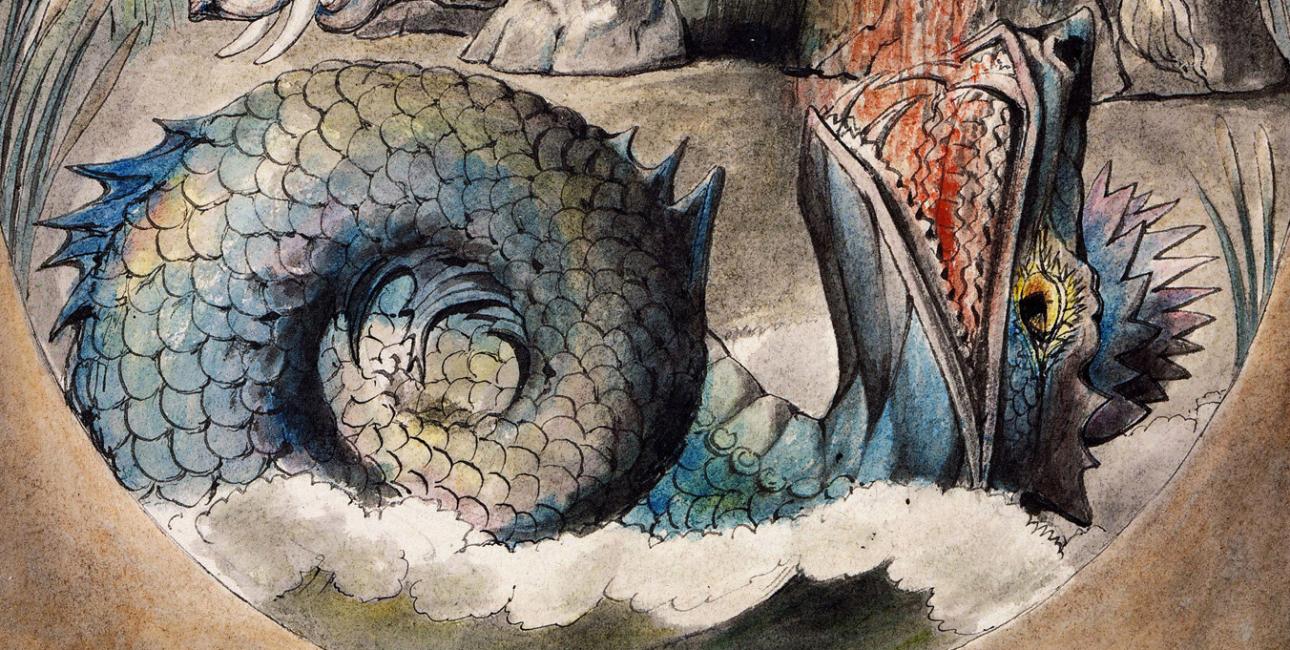 Livjatan. Illustration af William Blake. Kilde: Wikimedia Commons.