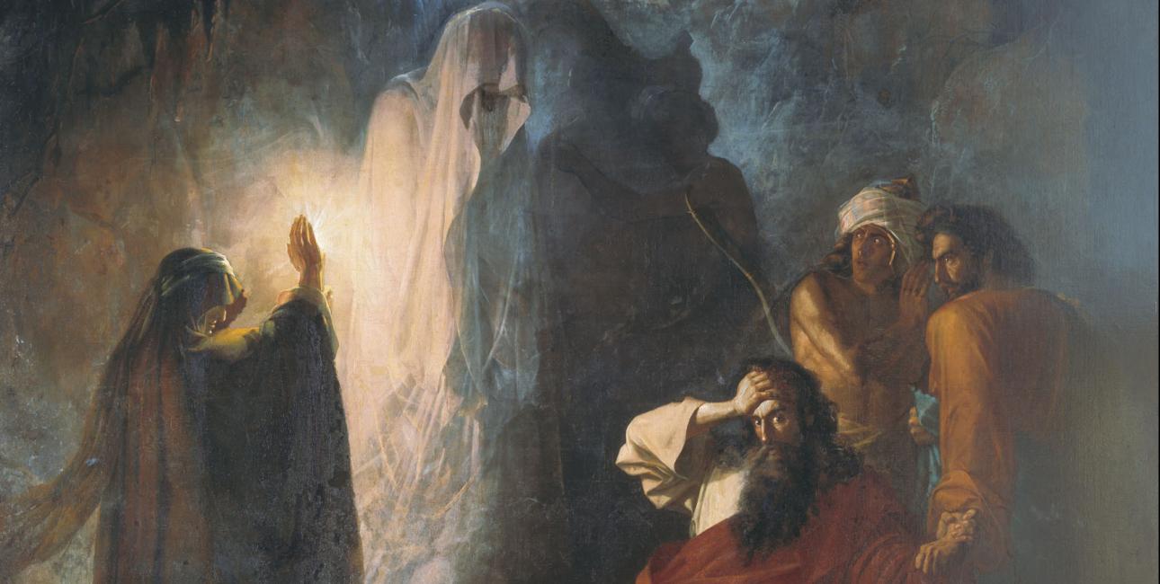 Saul og spåkvinden i En-Dor. Maleri af Nikiforovich Dmitry Martynov, 1857. Kilde Wikimedia Commons.
