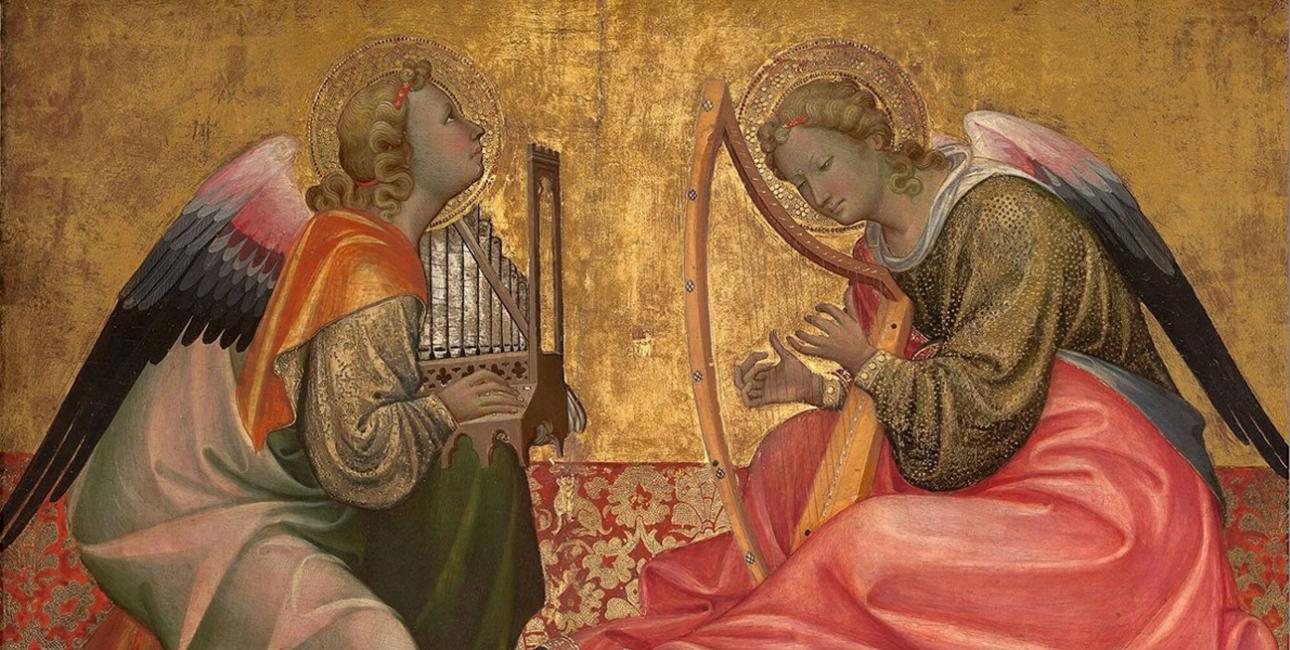 To musicerende engle. Del af nederlandsk alter, ca. 1400. Kilde: Wikimedia Commons.