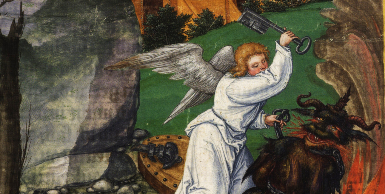 Djævelen - Johannes' Åbenbaring. Illustration fra Ottheinrich-Bibel, ca. 1530-32.