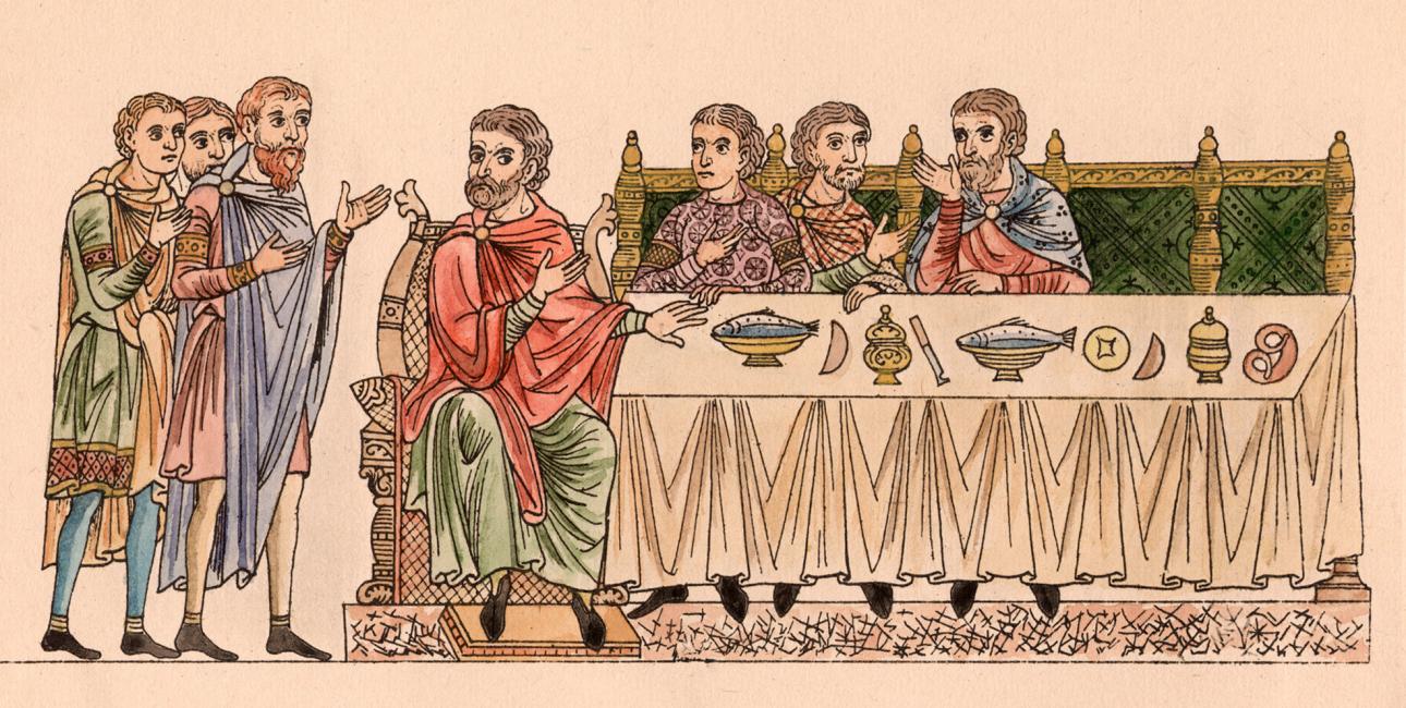 Lignelsen om pladserne ved bordet. Illustration fra middelalder-manuskriptet Hortus deliciarum, 1167-85. Foto: Akg-Images/Ritzau Scanpix.