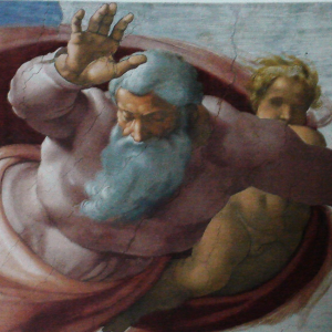God separating the Earth from the waters - Michelangelo