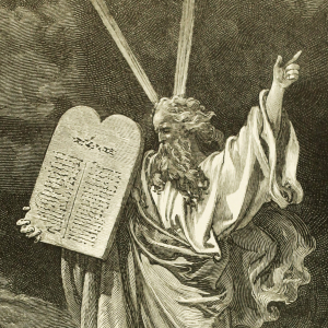 Moses med de ti bud. Illustration af William A. Foster fra The Bible Panorama.