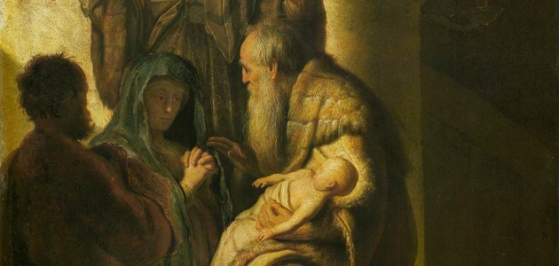 """Simeon and Anna Recognize the Lord in Jesus"" - Rembrandt"